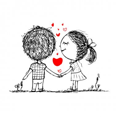 Couple in love together, valentine sketch for your design stock vector
