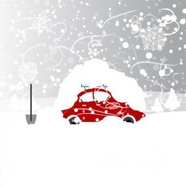 Car with snowbank on roof, winter blizzard clip art vector