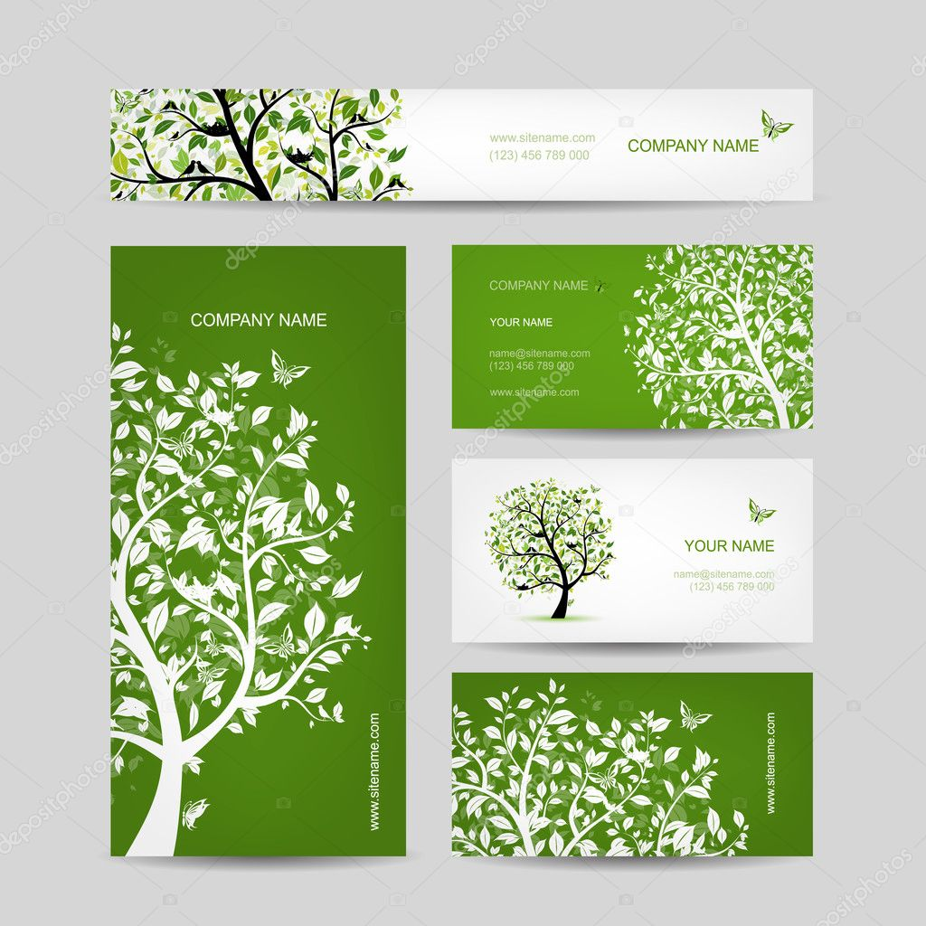 Business cards design, spring tree with birds