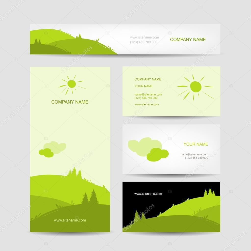 Business cards design with green meadow background