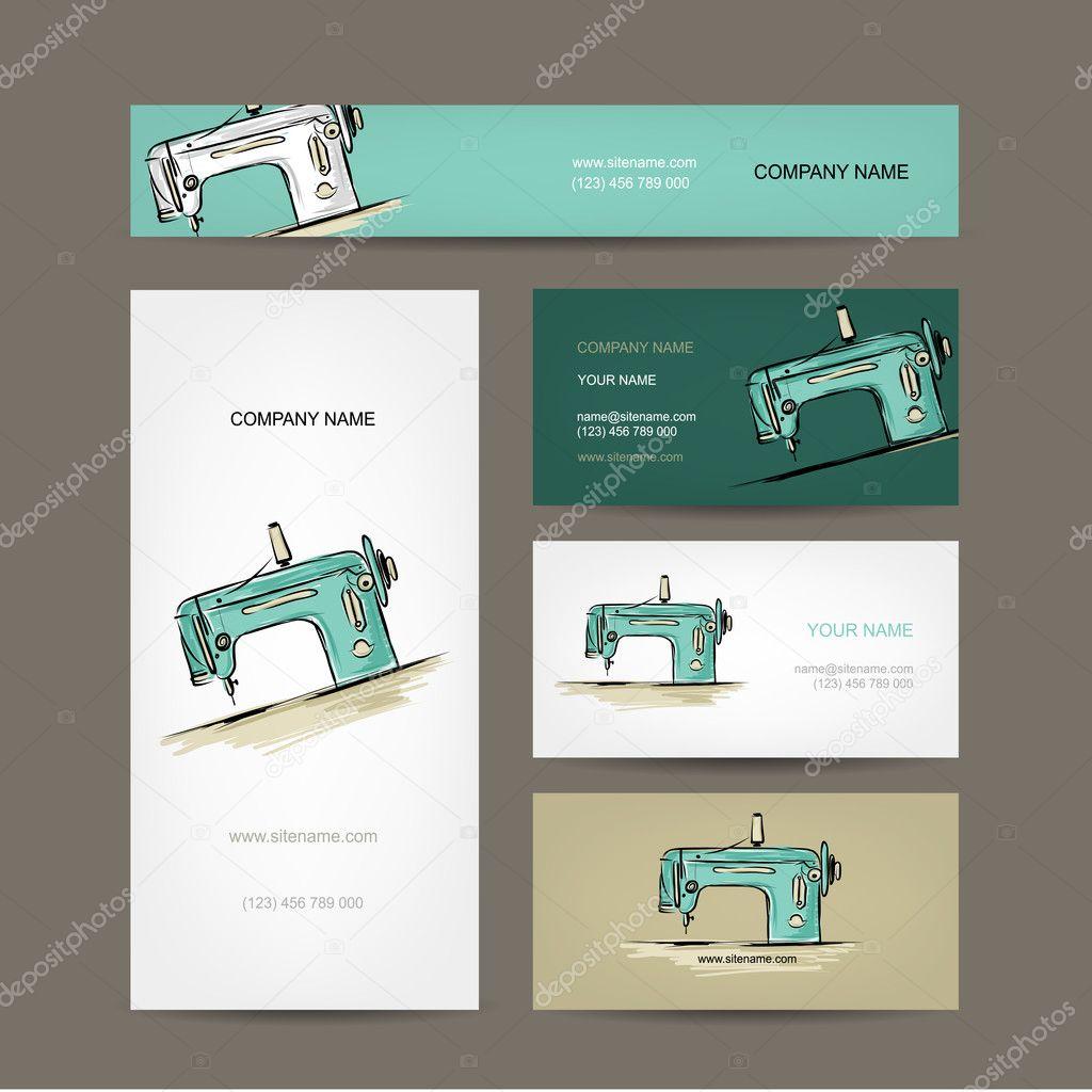 Visitenkarten Design Nähen Maschine Skizze Stockvektor