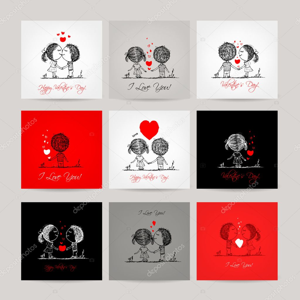 Set of business cards, couple in love together clipart vector