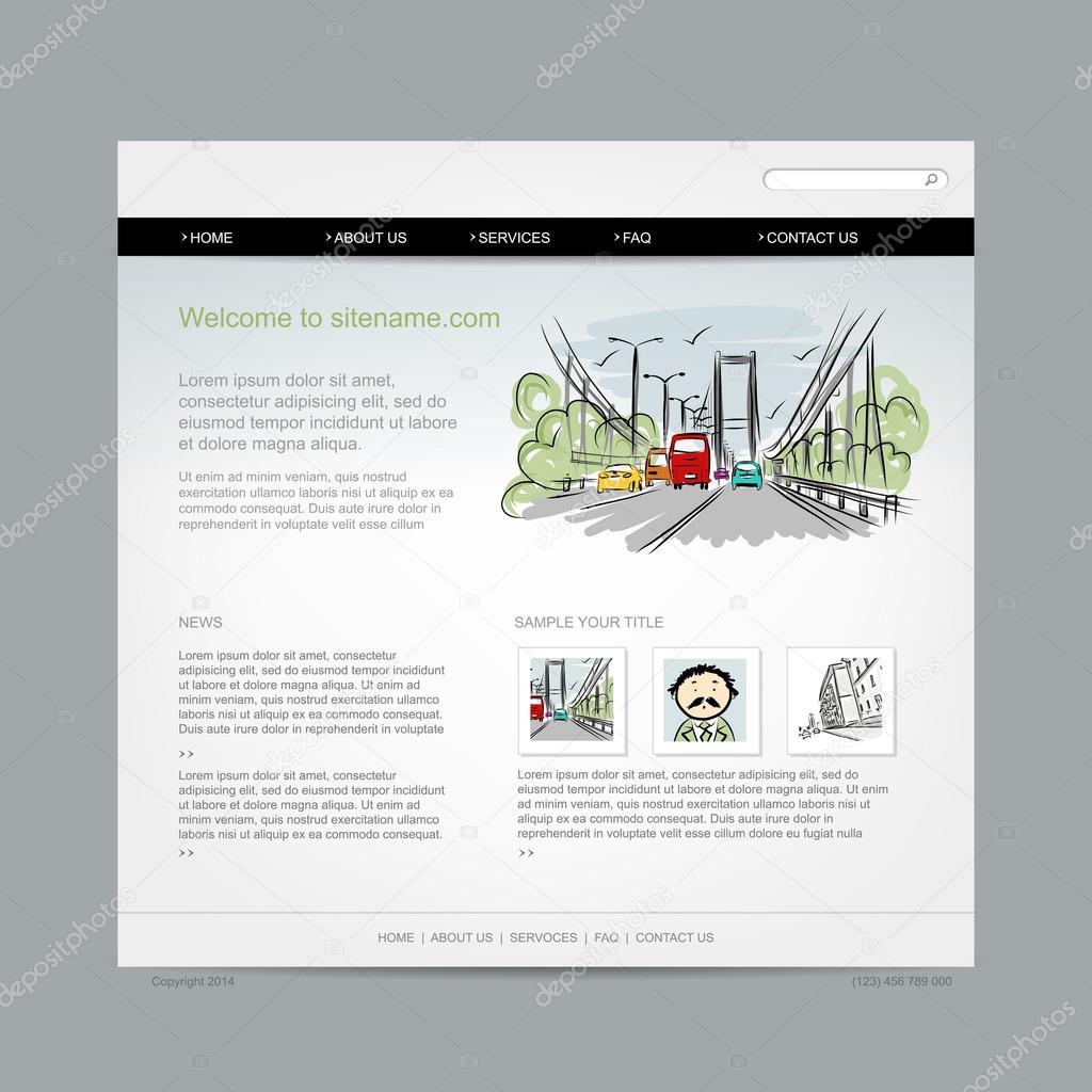 Plantilla de diseño de página web, paisaje — Archivo Imágenes ...