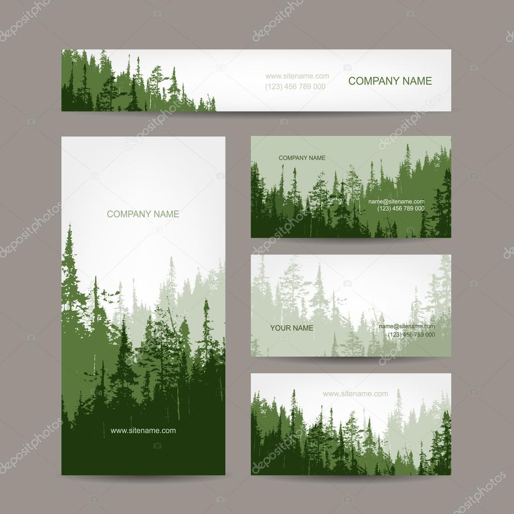 Business cards design with green forest background