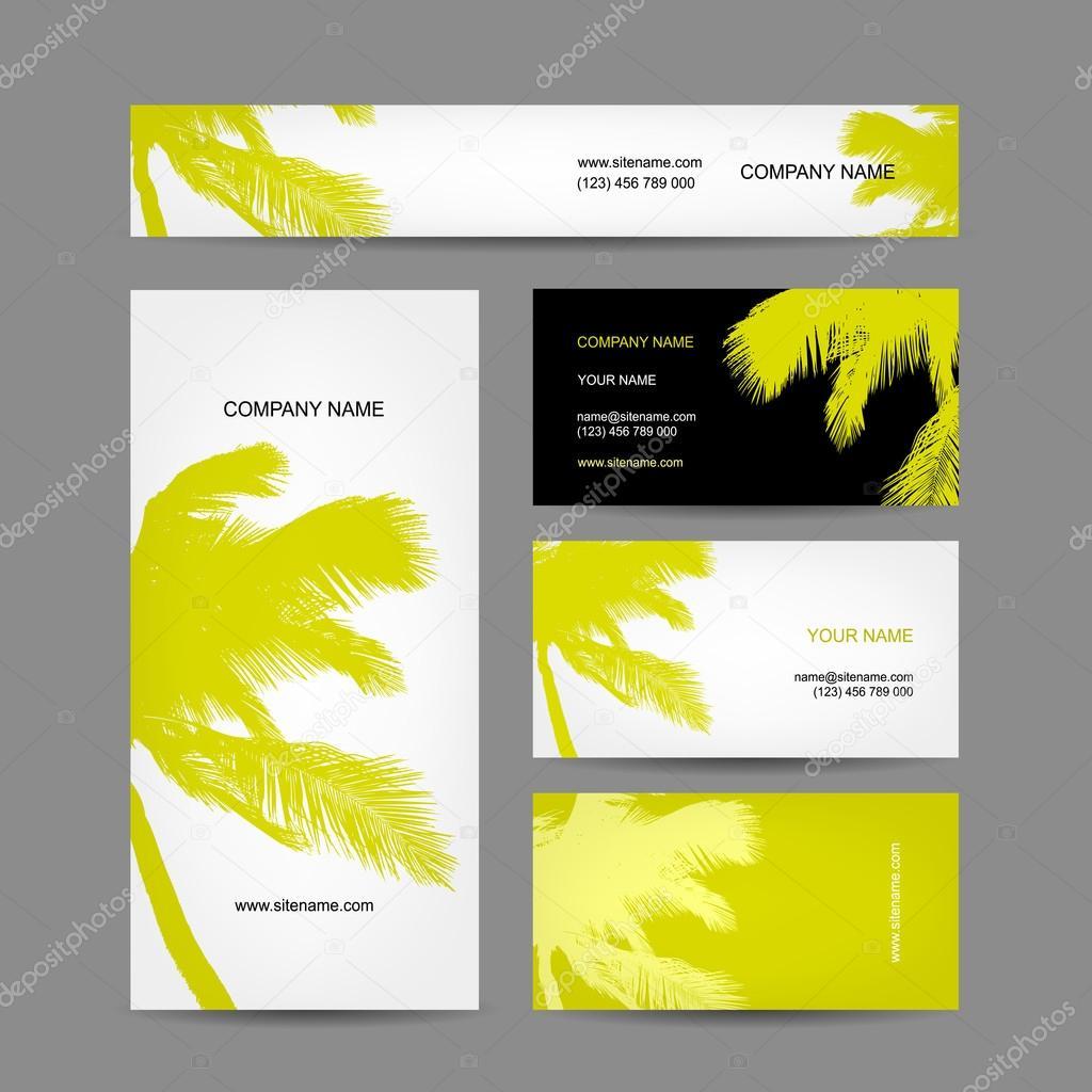 Set of business cards design palm tree stock vector kudryashka set of business cards design palm tree stock vector colourmoves