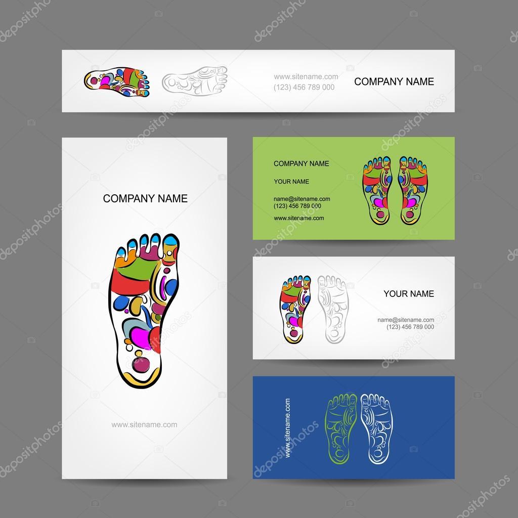 Business cards design, foot massage reflexology