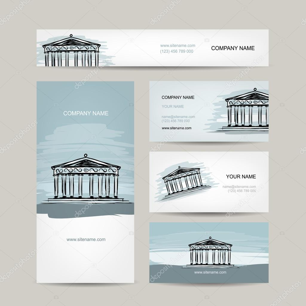 Business card design, antique style building with columns — Stock ...
