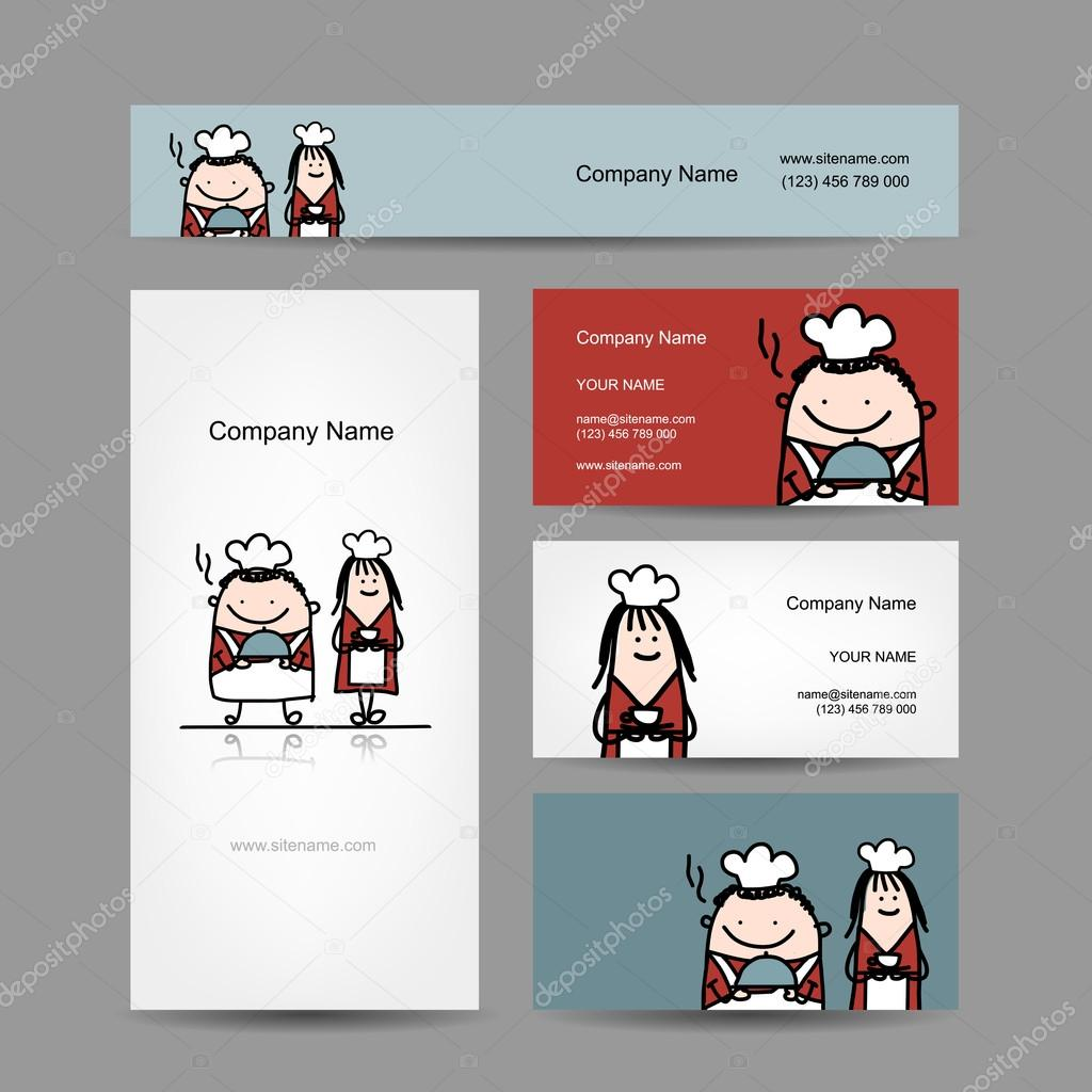 Conception De Cartes Visite Avec Chef Cuisinier Dessin Anime Illustration Stock