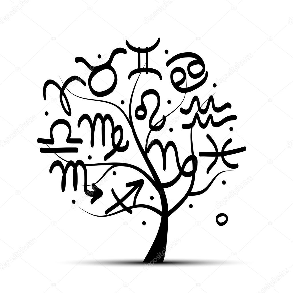 Art tree with zodiac signs for your design