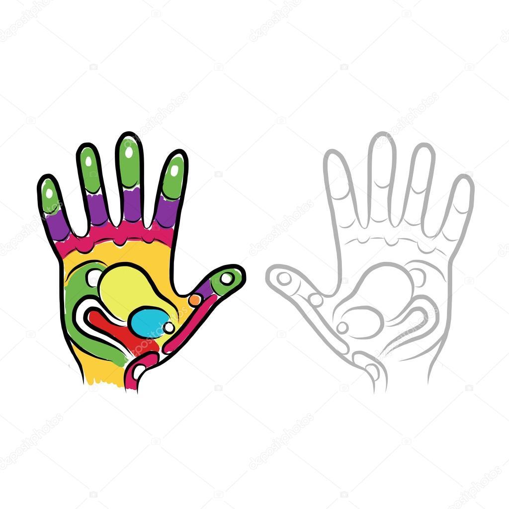 dibujo de manos para su diseño, masaje de reflexología — Vector de ...