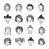 Photo Set of cute girl characters, cartoon for your design