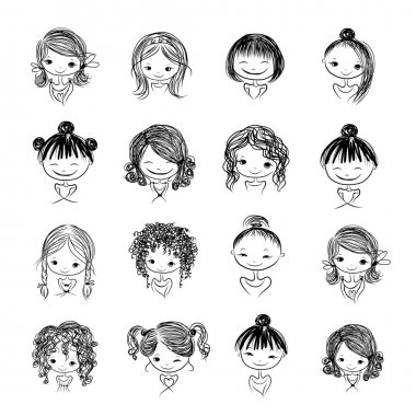 Set of cute girl characters, cartoon for your design, vector illustration stock vector