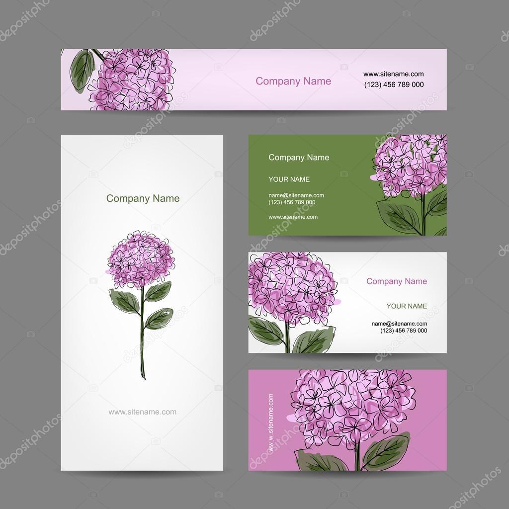 Jeu De Cartes Visite Design Avec Fleur Dhortensia Image Vectorielle