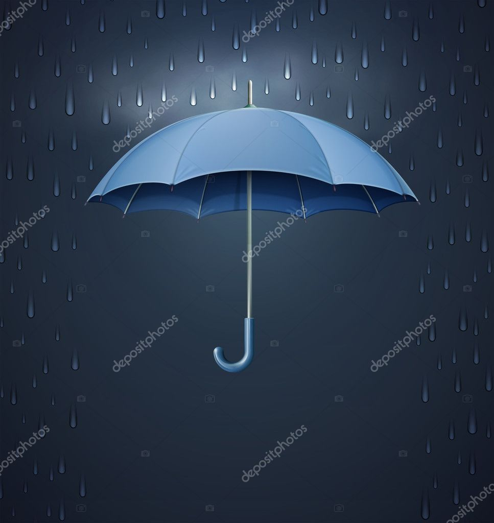 Umbrella with heavy fall rain