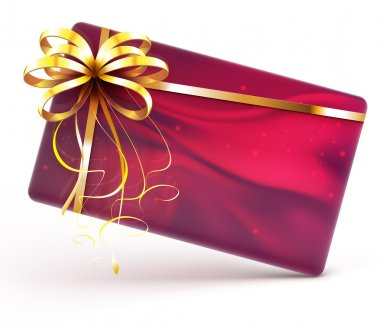 Vector illustration of red decorated gift card with golden ribbon and bow isolated on white background clip art vector