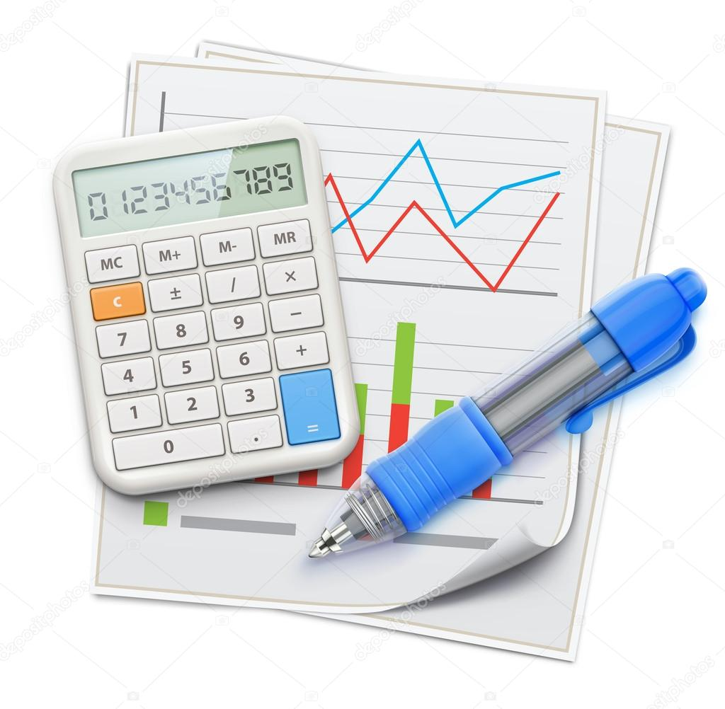 Business concept with finance graphs, blue ballpoint pen and electronic calculator
