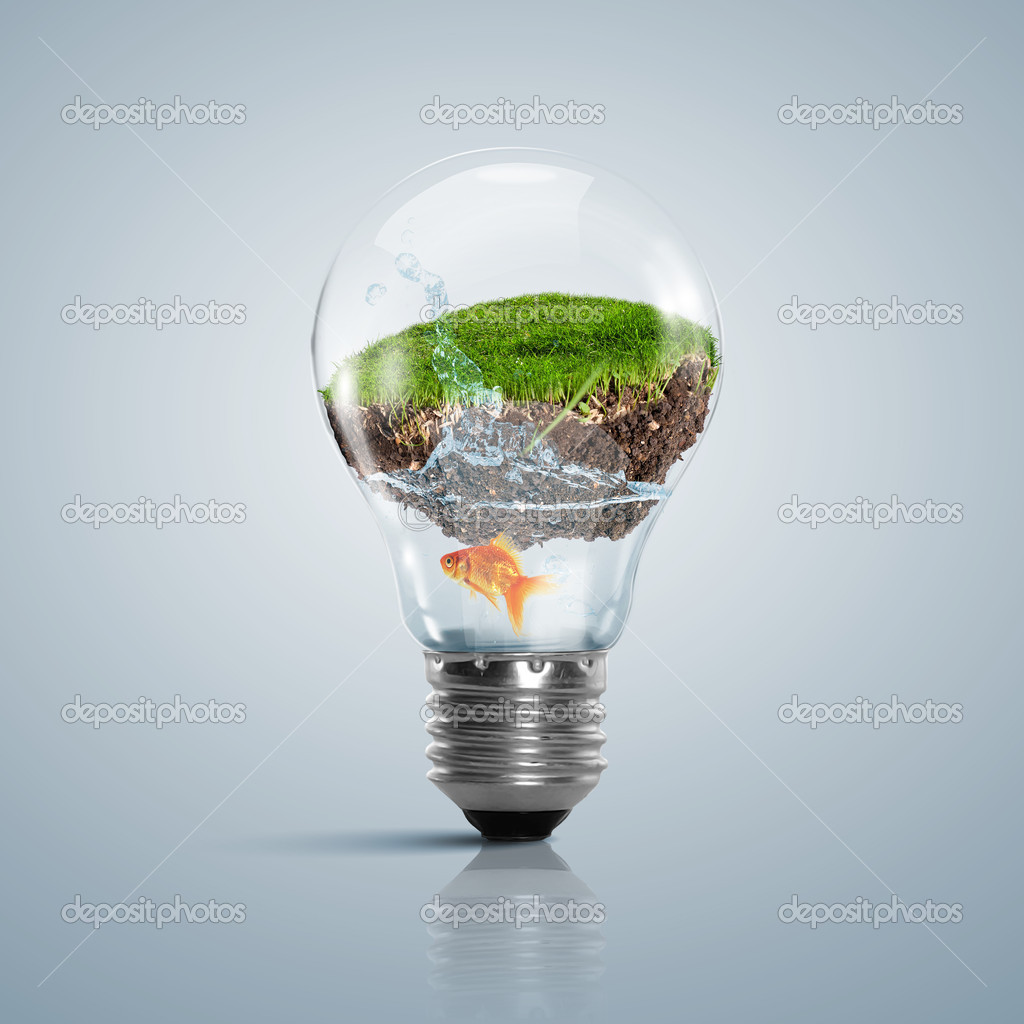 Lamp bulb with clean nature symbol inside — Stock Photo