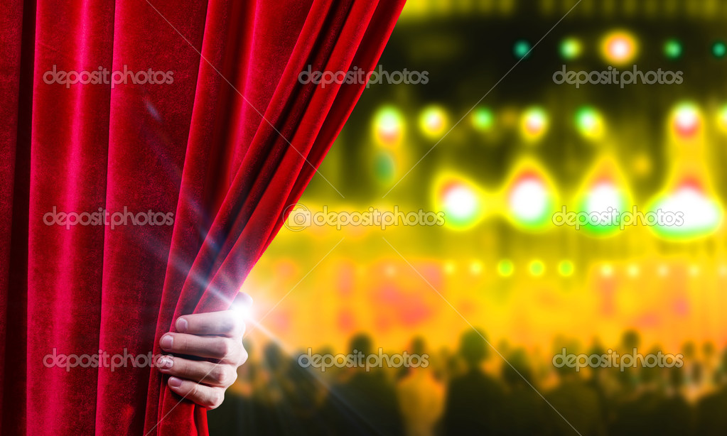 e74a76dda Hand of businessman opening red velvet curtain — Photo by ...