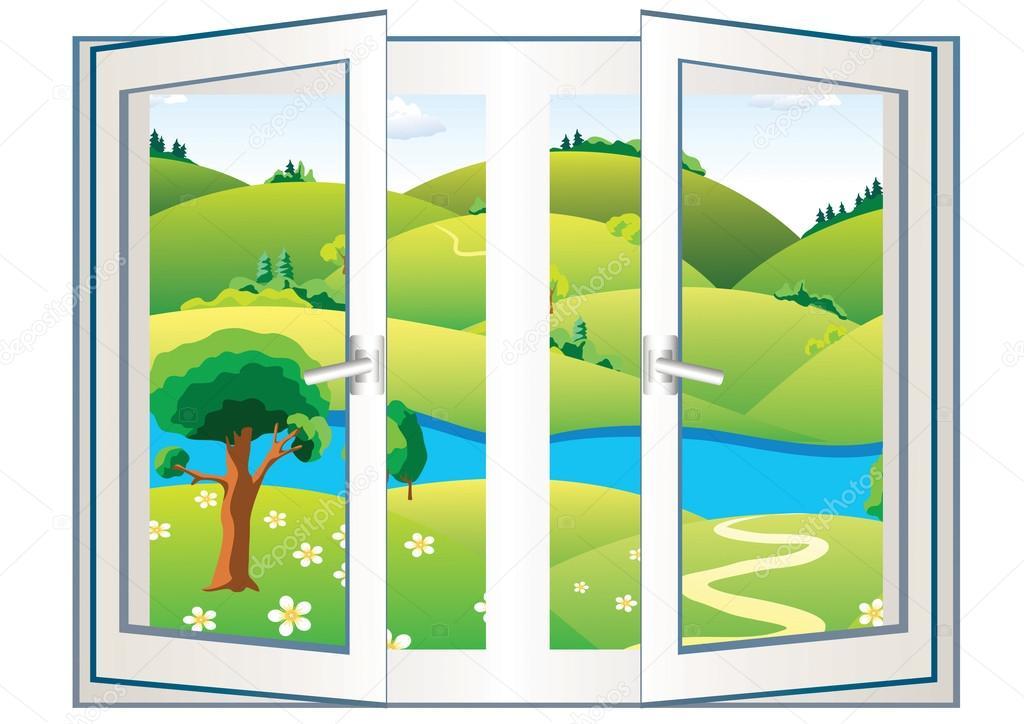 Landscape in the open window