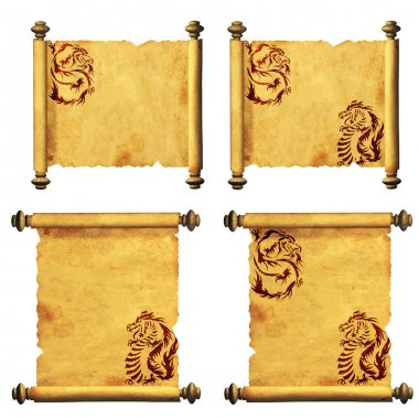 Set of ancient parchments with the image of dragons. Isolated on white background stock vector