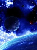 Krásný prostor scény s planetami