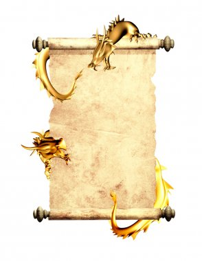Dragons and scroll of old parchment
