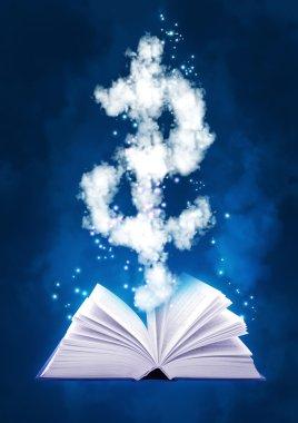 Magic book and dollar symbol