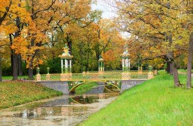 Beautiful bridge in Alexander park of Pushkin, Saint-Petersburg