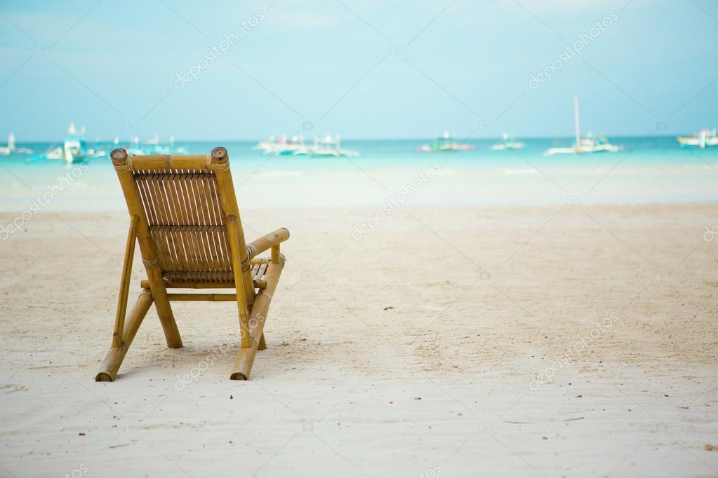 Beach Chair On Perfect Tropical White Sand Beach With Turquoise Water In  Boracay, Philippines U2014 Photo By Encrier