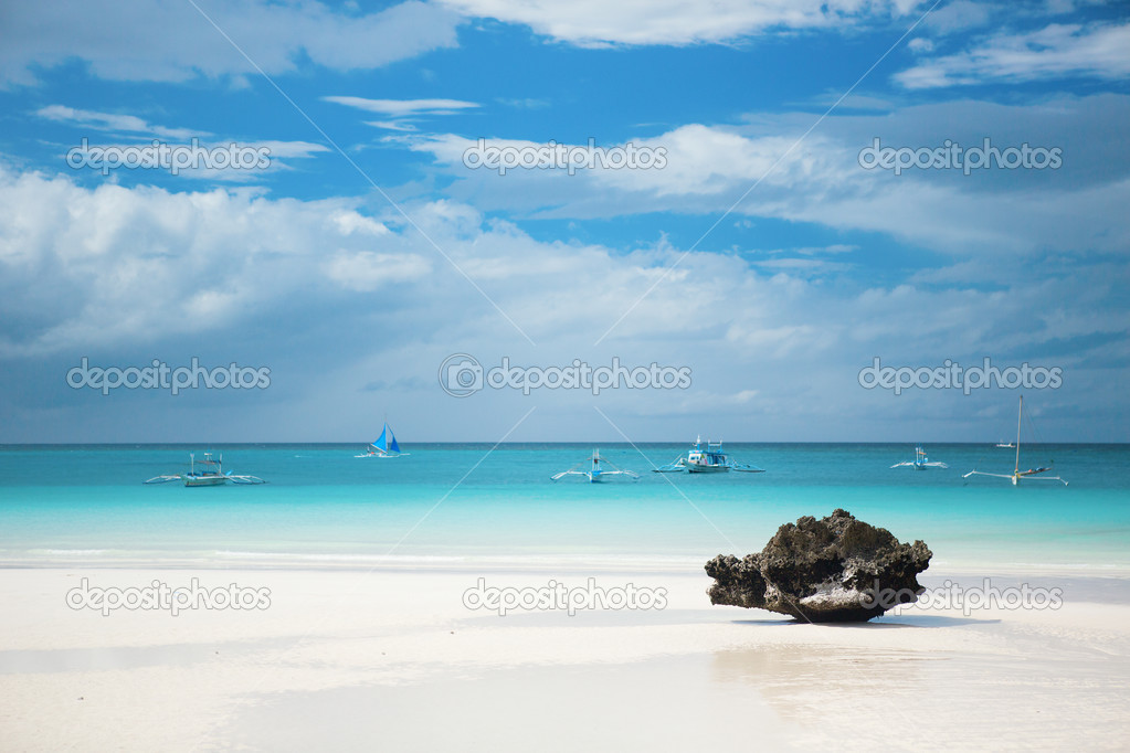 Perfect white sand beach on Boracay island