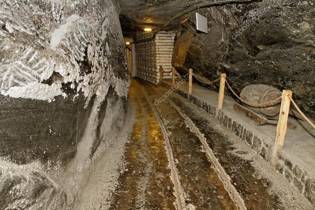 Corridor in salt mine.