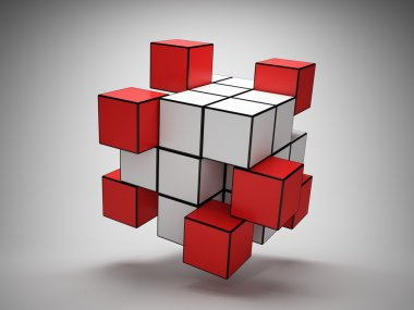 Abstract structure of cubes with red key elements stock vector