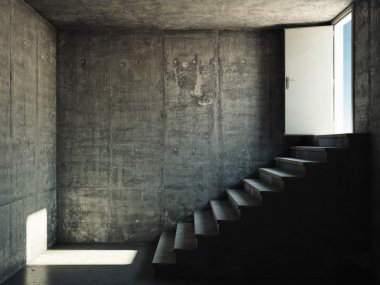 Interior room with concrete walls and stairs
