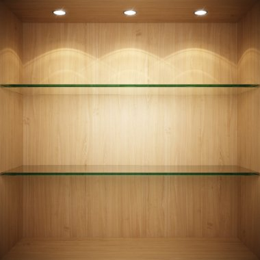 Empty wooden showcase with glass shelves