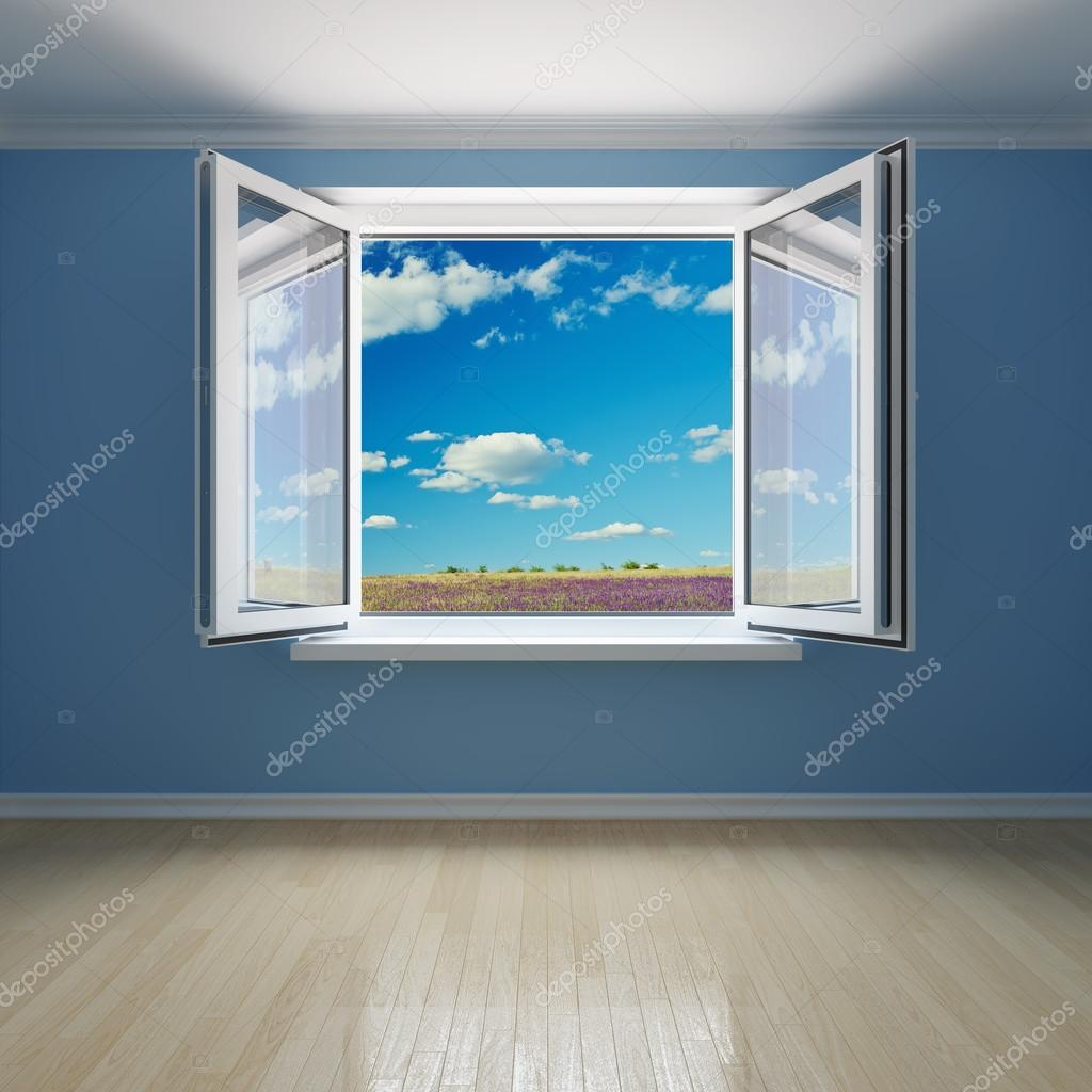 Sala interna con finestra aperta foto stock shenki - Finestra interna ...