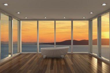 Modern bathroom with large bay window