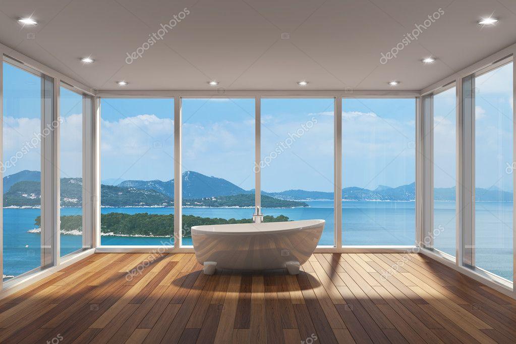 Salle de bains moderne avec grande baie vitr e photo for Salle de bain vitree