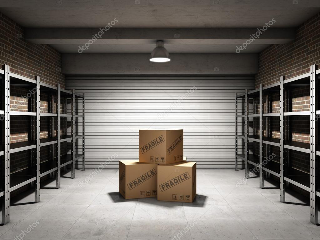Storage room with boxes and shelves