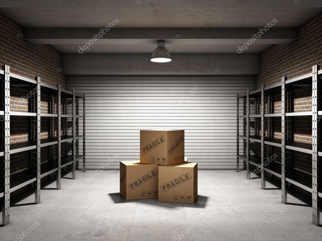 Ripostiglio con scatole e scaffali u2014 foto stock © shenki #37198341