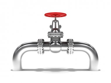 Pipeline with red valve