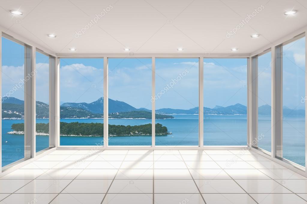 Salotto Moderno Grande : Salotto moderno vuota con grande vetrata u2014 foto stock © shenki #40715427