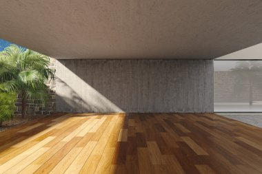 Empty modern terrace with timber floor stock vector