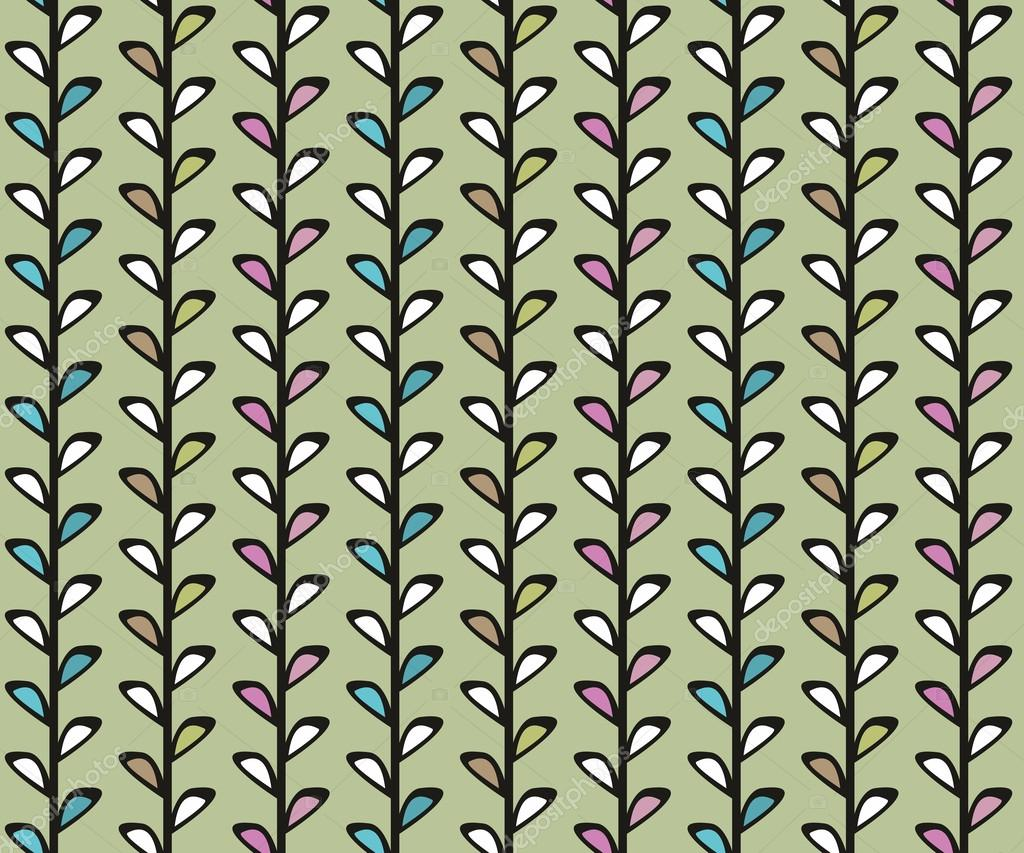 Vintage floral vector seamless texture with lianas