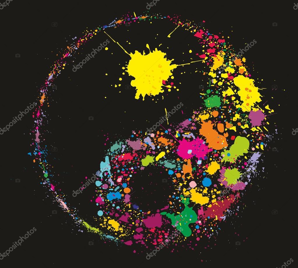 symbole de grunge yin yan fait des claboussures de peinture color e image vectorielle kaetana. Black Bedroom Furniture Sets. Home Design Ideas