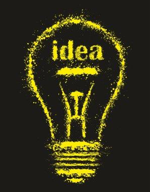 Grunge bright Idea Light Bulb - vector illustration