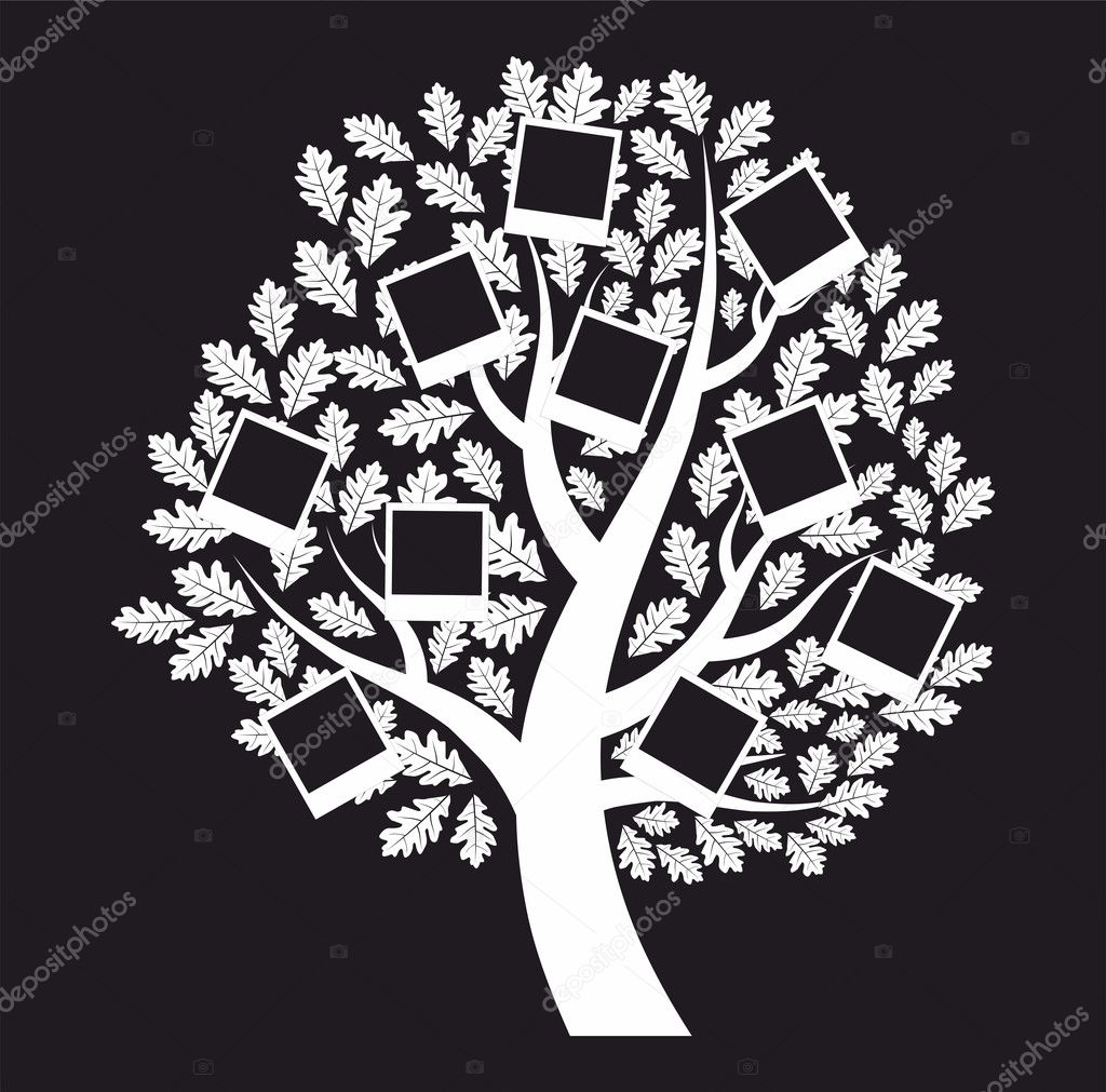 árbol genealógico familiar sobre fondo negro, vector — Archivo ...