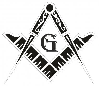 Freemasonry emblem - the masonic square and compass symbol, vect