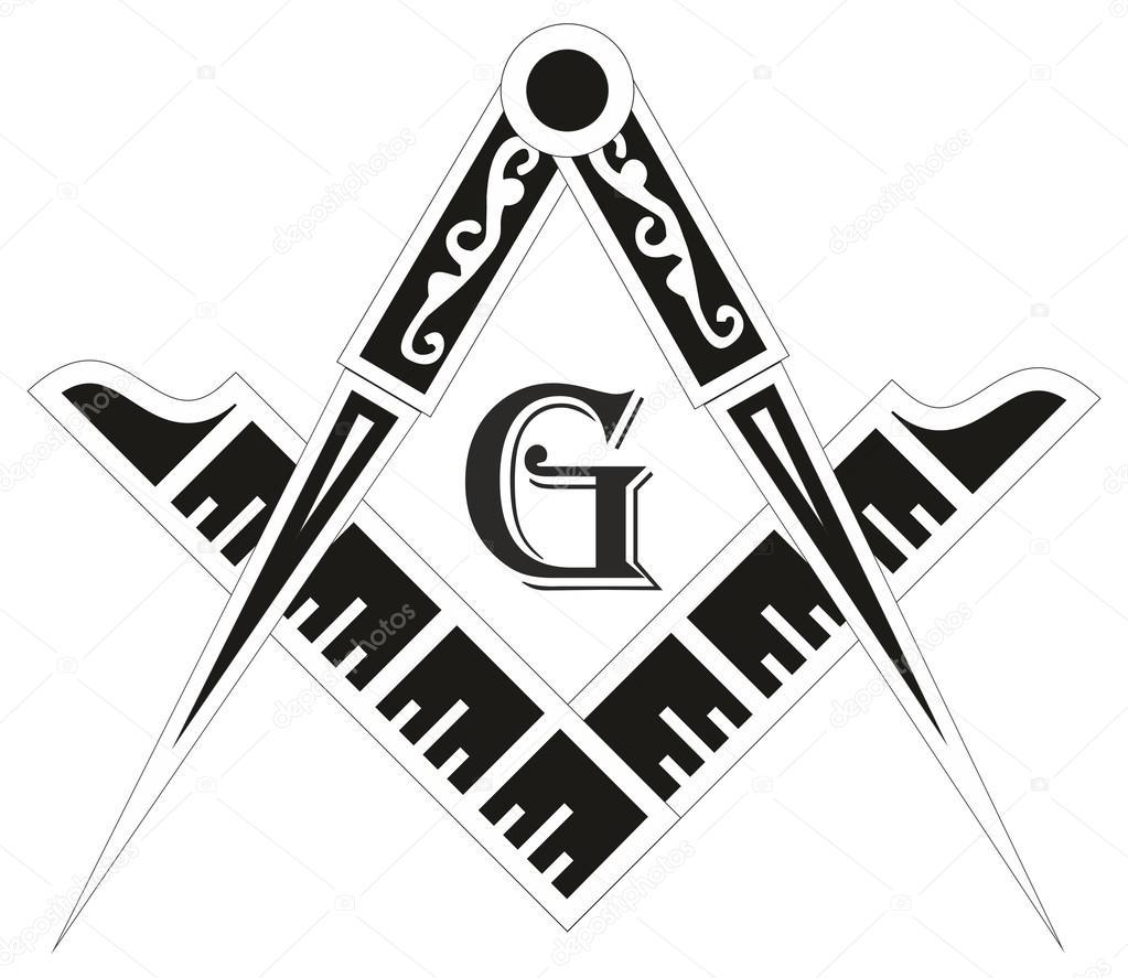 Freemasonry emblem - the masonic square and compass symbol, vect