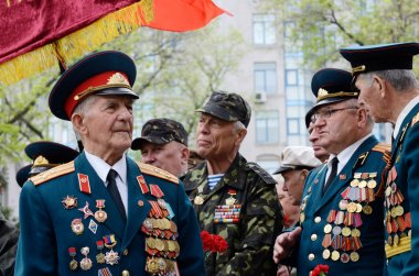 Old veterans come to celebrate Victory Day in commemoration of Soviet soldiers who died during Great Patriotic War,Odessa,Ukraine