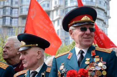 Old veterans come to celebrate Victory Day in commemoration of Soviet soldiers who died during Great Patriotic War 1941-1945 on May 9,2014 in Odessa,Ukraine